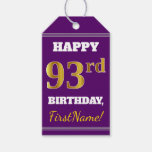 [ Thumbnail: Purple, Faux Gold 93rd Birthday + Custom Name Gift Tags ]