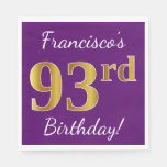 [ Thumbnail: Purple, Faux Gold 93rd Birthday + Custom Name Paper Napkin ]