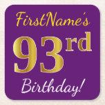 [ Thumbnail: Purple, Faux Gold 93rd Birthday + Custom Name Paper Coaster ]