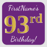 [ Thumbnail: Purple, Faux Gold 93rd Birthday + Custom Name Sticker ]