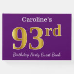 [ Thumbnail: Purple, Faux Gold 93rd Birthday Party; Custom Name Guest Book ]