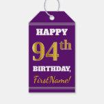 [ Thumbnail: Purple, Faux Gold 94th Birthday + Custom Name Gift Tags ]