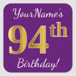 [ Thumbnail: Purple, Faux Gold 94th Birthday + Custom Name Sticker ]