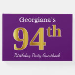 [ Thumbnail: Purple, Faux Gold 94th Birthday Party; Custom Name Guest Book ]
