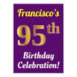 [ Thumbnail: Purple, Faux Gold 95th Birthday Celebration + Name Invitation ]