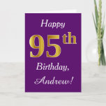 [ Thumbnail: Purple, Faux Gold 95th Birthday + Custom Name Card ]