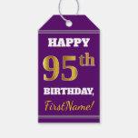 [ Thumbnail: Purple, Faux Gold 95th Birthday + Custom Name Gift Tags ]
