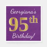 [ Thumbnail: Purple, Faux Gold 95th Birthday + Custom Name Paper Napkin ]