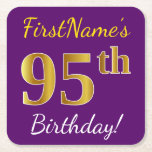 [ Thumbnail: Purple, Faux Gold 95th Birthday + Custom Name Paper Coaster ]