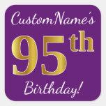 [ Thumbnail: Purple, Faux Gold 95th Birthday + Custom Name Sticker ]