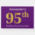 [ Thumbnail: Purple, Faux Gold 95th Birthday Party; Custom Name Guest Book ]
