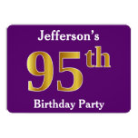 [ Thumbnail: Purple, Faux Gold 95th Birthday Party; Custom Name Invitation ]