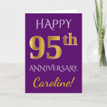 [ Thumbnail: Purple, Faux Gold 95th Wedding Anniversary + Name Card ]