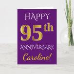 [ Thumbnail: Purple, Faux Gold 95th Wedding Anniversary + Name Card ]