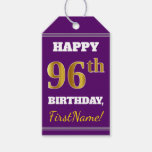 [ Thumbnail: Purple, Faux Gold 96th Birthday + Custom Name Gift Tags ]
