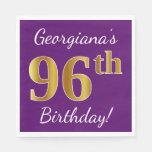 [ Thumbnail: Purple, Faux Gold 96th Birthday + Custom Name Paper Napkin ]