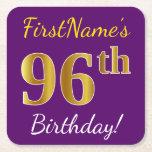 [ Thumbnail: Purple, Faux Gold 96th Birthday + Custom Name Paper Coaster ]