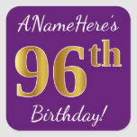 [ Thumbnail: Purple, Faux Gold 96th Birthday + Custom Name Sticker ]