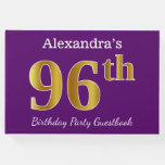 [ Thumbnail: Purple, Faux Gold 96th Birthday Party; Custom Name Guest Book ]