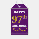 [ Thumbnail: Purple, Faux Gold 97th Birthday + Custom Name Gift Tags ]