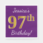 [ Thumbnail: Purple, Faux Gold 97th Birthday + Custom Name Paper Napkin ]