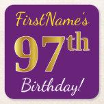 [ Thumbnail: Purple, Faux Gold 97th Birthday + Custom Name Paper Coaster ]