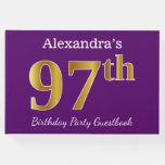 [ Thumbnail: Purple, Faux Gold 97th Birthday Party; Custom Name Guest Book ]