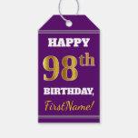 [ Thumbnail: Purple, Faux Gold 98th Birthday + Custom Name Gift Tags ]
