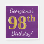 [ Thumbnail: Purple, Faux Gold 98th Birthday + Custom Name Paper Napkin ]