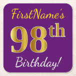 [ Thumbnail: Purple, Faux Gold 98th Birthday + Custom Name Paper Coaster ]