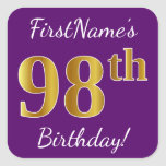 [ Thumbnail: Purple, Faux Gold 98th Birthday + Custom Name Sticker ]
