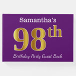 [ Thumbnail: Purple, Faux Gold 98th Birthday Party; Custom Name Guest Book ]