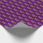 [ Thumbnail: Purple, Faux Gold 98th (Ninety-Eighth) Event Wrapping Paper ]