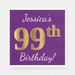 [ Thumbnail: Purple, Faux Gold 99th Birthday + Custom Name Napkin ]