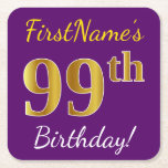[ Thumbnail: Purple, Faux Gold 99th Birthday + Custom Name Paper Coaster ]