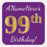[ Thumbnail: Purple, Faux Gold 99th Birthday + Custom Name Sticker ]