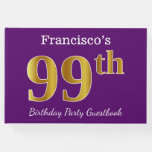 [ Thumbnail: Purple, Faux Gold 99th Birthday Party; Custom Name Guest Book ]