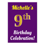 [ Thumbnail: Purple, Faux Gold 9th Birthday Celebration + Name Invitation ]