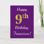 [ Thumbnail: Purple, Faux Gold 9th Birthday + Custom Name Card ]