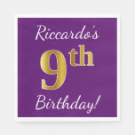 [ Thumbnail: Purple, Faux Gold 9th Birthday + Custom Name Napkin ]