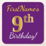 [ Thumbnail: Purple, Faux Gold 9th Birthday + Custom Name Paper Coaster ]