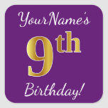 [ Thumbnail: Purple, Faux Gold 9th Birthday + Custom Name Sticker ]