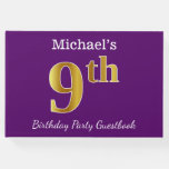 [ Thumbnail: Purple, Faux Gold 9th Birthday Party + Custom Name Guest Book ]