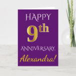 [ Thumbnail: Purple, Faux Gold 9th Wedding Anniversary + Name Card ]