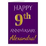 [ Thumbnail: Purple, Faux Gold 9th Wedding Anniversary + Name Card ]
