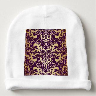 purple,faux,gold,damasks,vintage,antique,floral,pa baby beanie