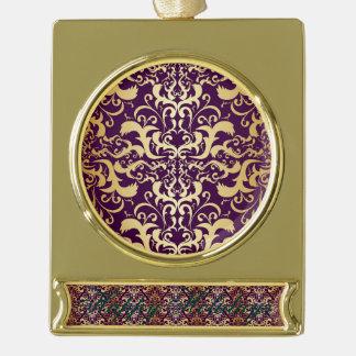 purple,faux,gold,damasks,vintage,antique,floral,pa gold plated banner ornament