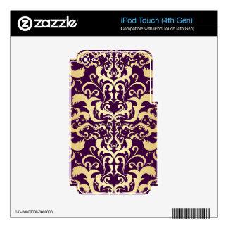 purple,faux,gold,damasks,vintage,antique,floral,pa iPod touch 4G decal
