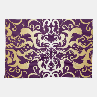 purple,faux,gold,damasks,vintage,antique,floral,pa kitchen towel