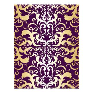 purple,faux,gold,damasks,vintage,antique,floral,pa letterhead